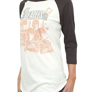 Junk Food The Beatles Raglan Baseball Tee Shirt M